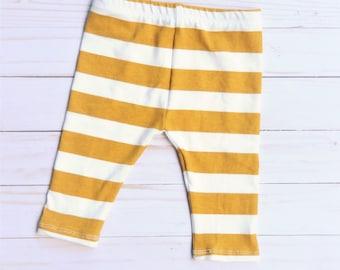 Mustard Leggings, Mustard Stripe Leggings, Striped Leggings, Mustard and White Leggings, Baby Leggings, Thanksgiving Outfit, Baby Gift