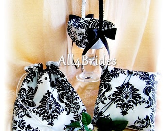 Black and white damask wedding pillow, basket and bridal drawstring bag.  Ring bearer pillow and flower girl basket accessories.