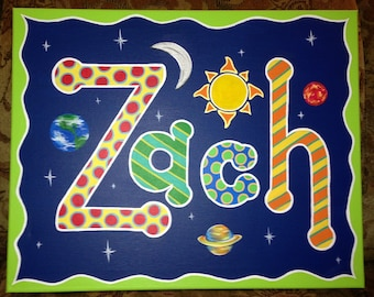 Hand painted personalized name painting on canvas - Boys themes- Planets outer space, nautical, sports, stars