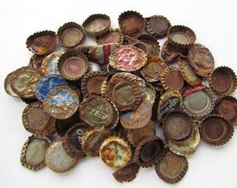 75 Rusty Bottle Caps, Found Objects, Sculpture, Mixed Media, Assemblage Art, Altered Art