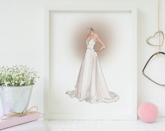 Custom Wedding Dress Illustration Print - Standard