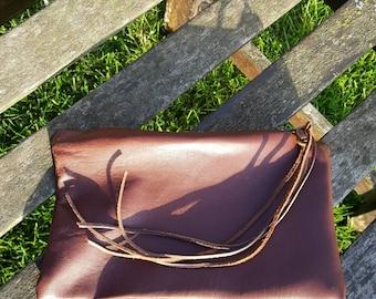 brown tan nappa leather suede purse clutch pouch zkk bronze metal zip tassels passport phone unique