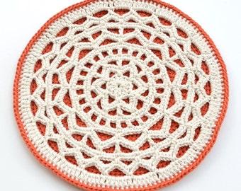 PATTERN - Geometric Mandala Hot Pad - Crocheted lace mandala - potholder, table decoration, wall hanging, instant download