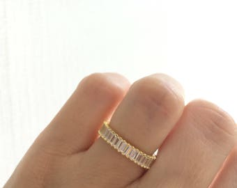 Gold 4mm Baguette Cz Band. Engagement Band. Thick Wedding Band. Sterling Silver Gold Plated Baguette Ring. Luxury Gift Box. Free Shipping.