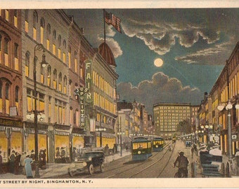 Linen Postcard, Binghamton, New York, Court Street by Night, ca 1915