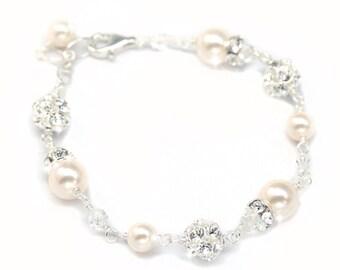 Wedding Bracelet, Pearl and Rhinestone Bridal Bracelet, Ivory pearls or White Pearls, Pearl and Crystal Bridal Jewelry