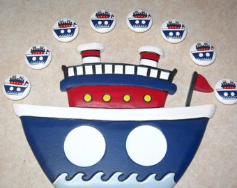 READY TO SHIP - Set of 8 Wooden Knobs and Wooden Boat Photo Frame to match - Hand Painted Wooden Knobs & Photo Frame