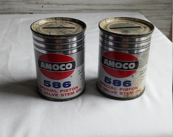 1 Vintage 1960s Amoco 586 Special Valve Stem Oil 4 oz. Coin Bank. Nice advertising bank for Amoco.  Coin Banks Teach Youngsters to Save.