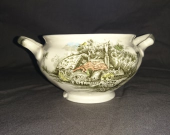 Vintage Johnson Brothers Open Sugar Bowl, Happy England, Made in England