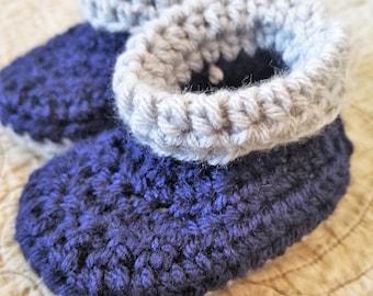 Soft Crochet Roll Top Baby Booties