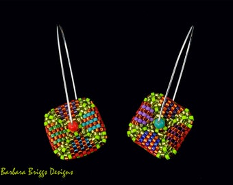 "New Design - Geometric ""Color Play"" Square Drop Earrings"