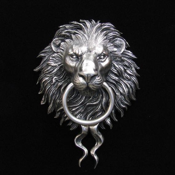 Beau Nickel Plated Bronze Lion Head Door Knocker