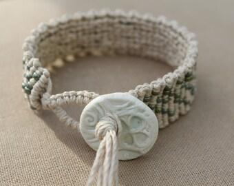 Hemp Macrame Bracelet with Ceramic Button Closure - Natural Bohemian