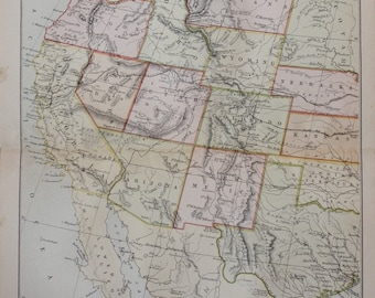 antique map united states america  USA west 1880