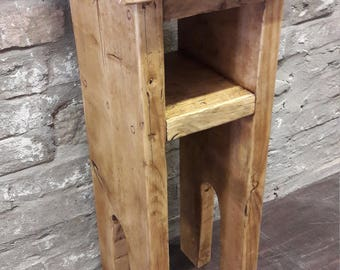 Handmade bedside table side table lamp stand rustic industrial
