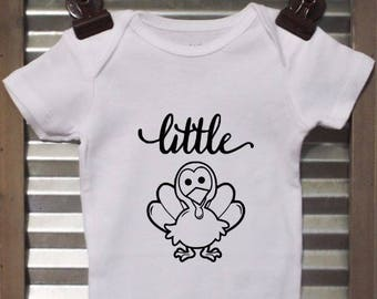 Little Turkey Baby Bodysuit - Thanksgiving Infant Bodysuit - Great outfit for fall!