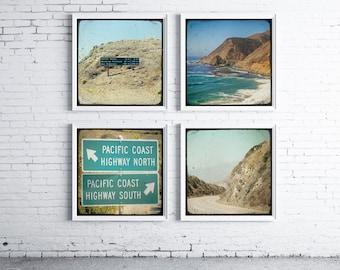 Road Trip - FOUR PHOTO SET, photography gift set, pacific coast highway, wanderlust art, bohemian art, road signs, california coast