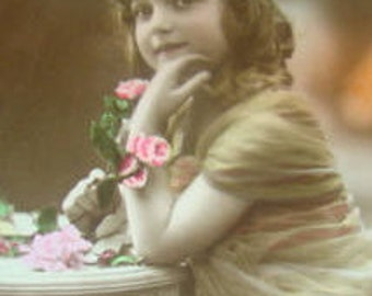 SALE Vintage Hand Tinted RPPC of Little Girl