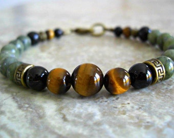 Tiger Eye, Serpentine Jade, Black Onyx, Antique Brass Accents Men's Bracelet, Men's Jewelry, Men's gift, Gift for him