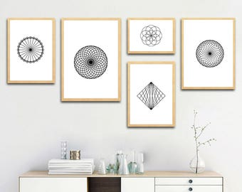 Geometry Shapes and Lines, Abstract printable art, gift ideas, home decoration wall art, digital download, print at home, 46-54
