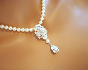 Wedding pearl necklace, bridal necklace, rhinestone necklace, wedding jewelry, Swarovski pearls and Swarovski crystals