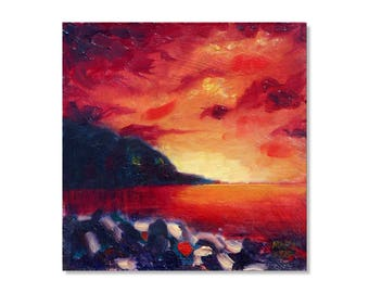 """Seascape with Sunset. Small Oil painting. 6"""" x 6"""". Impressionist Art. English Coast."""