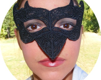 Steampunk black lace raven mask