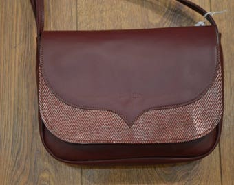 """""""Lori"""" fancy raspberry leather and silver bag"""