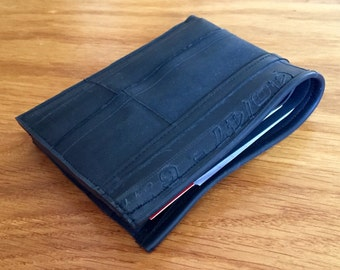 Upcycled mens wallet, bike inner tube wallet, bi-fold wallet, vegan friendly wallet, recycled wallet, minimalist slim wallet