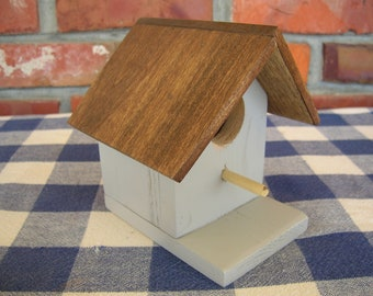 Gray Birdhouse - Cedar, Decorative, Indoor, Outdoor Birdhouse - Garden, Porch, Shelf Decoration