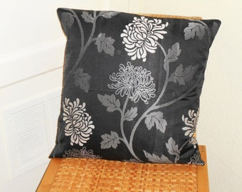 18 x 18 pillow cover, Floral cushion cover, black floral, floral cushion, floral pillow, black pillow, black and white floral