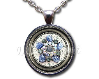 Brooch Image Collection: Floral Blue Gem Glass Dome Pendant or with Chain Link Necklace NT109