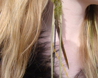 Leather Jewelry Sage Green Leather Earrings with Feathers and Chain. Boho, gypsy, hippie, fashion.urban cowgirl,glass.