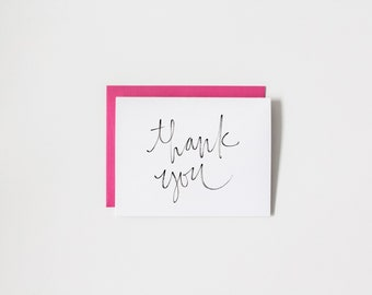 thank you card / unique greeting card, stationery, typography card, calligraphy card