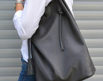 Very Capacious Genuine Leather Broad Shopper, Minimalistic Style Raw Finish Leather Tote For Women, Hobo, Dark Grey Leather Bag, Huge Tote