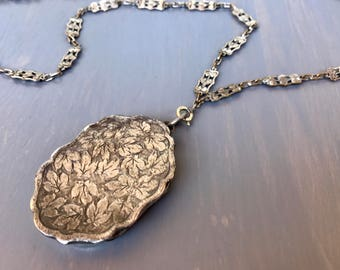 Victorian Sterling Locket Necklace Repousse Grape Leaves Reliquary Locket English Hallmarks George Unite Antique Fine Jewelry Gift for Her