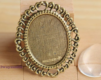 2pcs 58x49mm Antique Bronze Cameo Base Setting With 30x40mm Glass Cover Cabochon CM3073