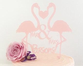 Personalised Flamingos Wedding Cake Topper Standard Size-personalised wedding cake topper-personalised wedding cake decoration-flamingos