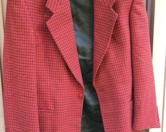 Vintage 70s  Black and Red Tweed Mens Wool Fall Sportcoat Blazer Size Medium 40R
