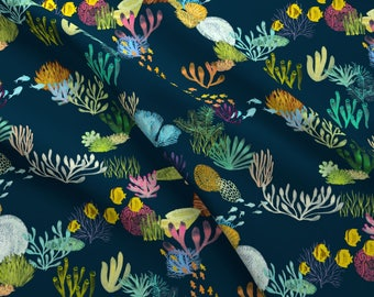 Modern Nautical Fabric - Life In The Great Barrier Reef By Ceciliamok - Great Barrier Reef Cotton Fabric By The Yard With Spoonflower