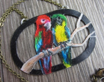 Old Friends Necklace - Prismacolor Macaws on Copper Sheet