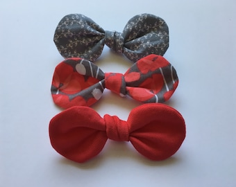 Baby Bows, Nylon Headbands, Red Bow, Knotted Bows, Baby Girl, Toddler Headbands, Alligator Clips