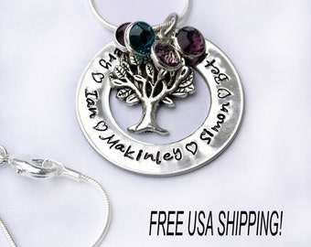 Tree Of Life Necklace- Personalized Grandma Necklace- Family Tree Jewelry- Mommy Jewelry- Gift For Grandma- Hand Stamped Grandma Necklace