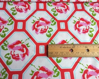 Pink Roses, Sugar Hill Rose, Trellis Red Cotton Fabric by Tanya Whelan
