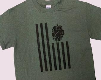 United Hops of America Flag Mens t-shirt, funny beer t-shirt, beer humor, favorite beer shirt, drinking shirt, fun gift t-shirt