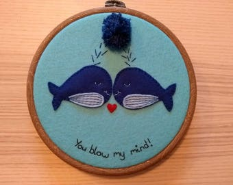 Whale hoop art: 100% wool felt whales, puns, love, Valentine's Day present, gift, pompom