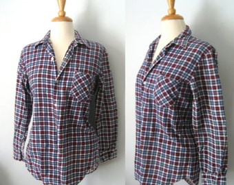 Vintage 80s checked blue, red and white lumberjack poverty shirt - size M