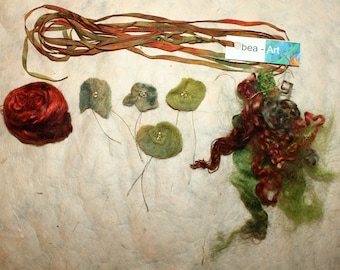 Set for art yarn-flowers-silk-curls