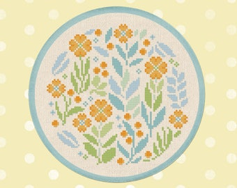 Pretty Spring Circle Cross Stitch Pattern. Cute Flower Blossoms Modern Simple Colorful Counted Cross Stitch Pattern PDF Instant Download
