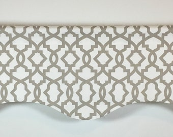 Sand Gray Geometric Valance - Window Valance - 50x16 - Cotton Lined - Sheffield Ecru Print - Rod Pocket - Scalloped - Curtain
